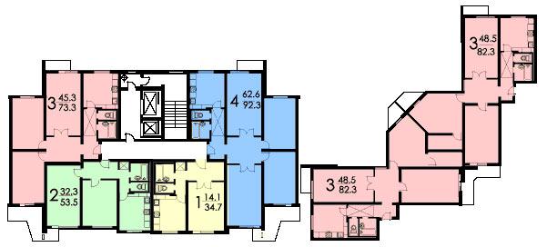 Планировка квартир дома серии П3
