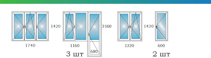 Окна в четырехкомнатной угловой квартире с эркером П3М М