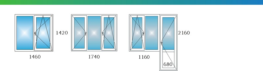 Окна в двухкомнатной квартире дома П3М с размерами С