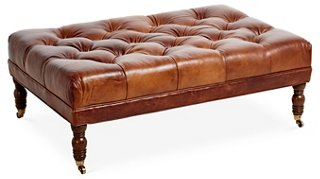 anna cocktail ottoman caramel leather