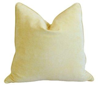 sunflower pastel yellow velvet pillow