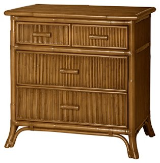 pencil rattan nightstand camel brown