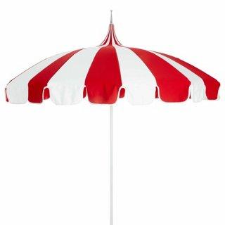 pagoda patio umbrella red white