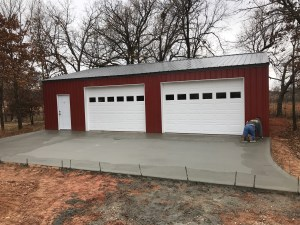 Red Pole Barn With Concrete