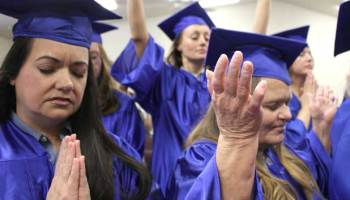 Before diplomas were handed out, inmates performed spiritual songs such as 'Temporary Home' by Checotah native Carrie Underwood