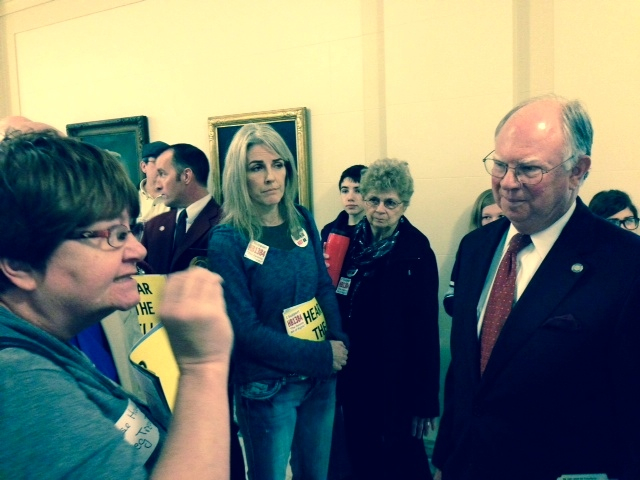 Senate Education Committee Chairman John Ford is confronted by Common Core opponents.