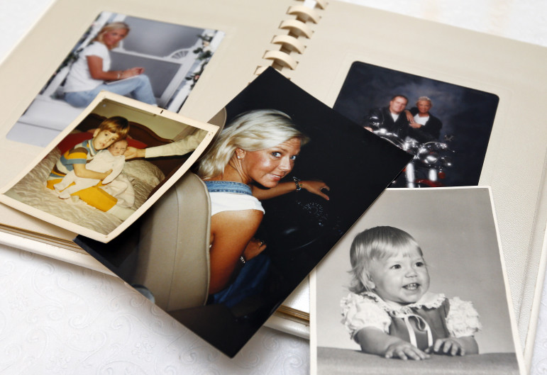Family photographs of Dena Brasfield, who died in 2010 of a prescription drug overdose.