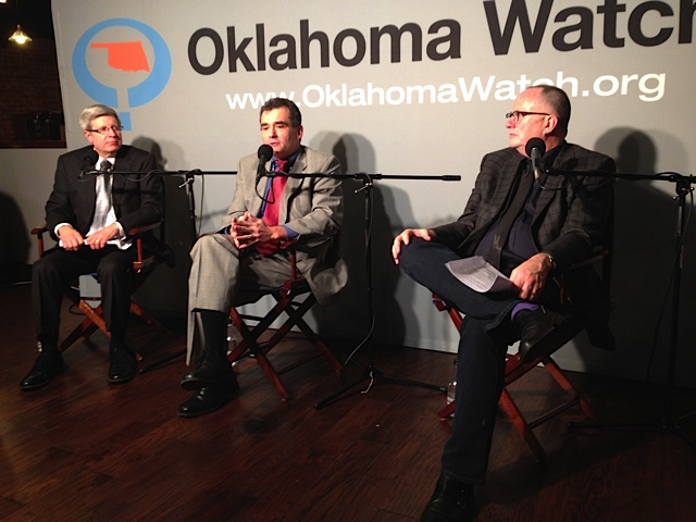 Steven Buck, deputy commissioners at the Oklahoma Department of Mental Health and Substance Abuse Services (center), and Michael Brose, executive director of Mental Health Association Oklahoma (right), take questions from the audience and Oklahoma Watch Executive Editor David Fritze (left) onTuesday night.