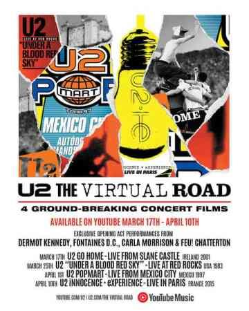 """U2 lança projeto """"Virtual Road"""" com shows clássicos"""