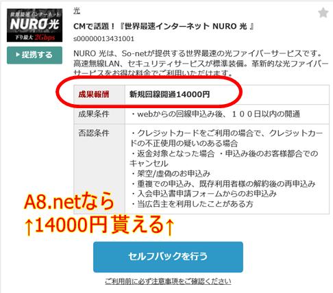 A8.netからNURO光をセルフバック
