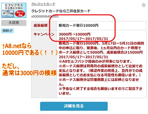 A8.netから「三井住友VISAカード エブリプラス」をセルフバック