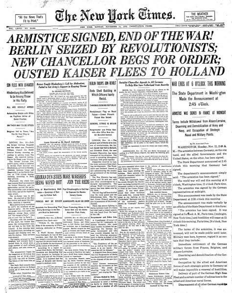 New York Times z 1918 roku. Źródło: wikipedia.org