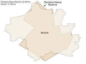 okonjima nature reserve size comparison to munich