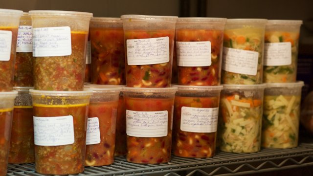 Soup ready for the freezer
