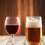 Wine glass and glass of beer