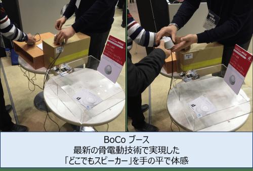 BoCo ブース_最新の骨電動技術で実現した「どこでもスピーカー」を手の平で体感
