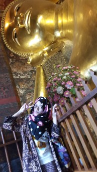 pose with Sleeping Buddha