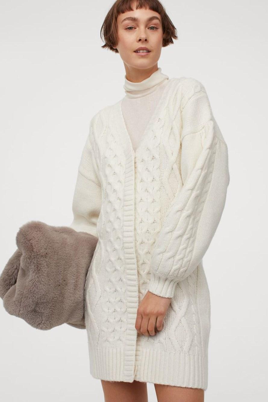 oktoberdots cosy cardigans 2020 lang chunky knit wit vest ballon mouwen