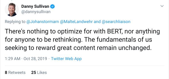 Danny Sullivan BERT tweet