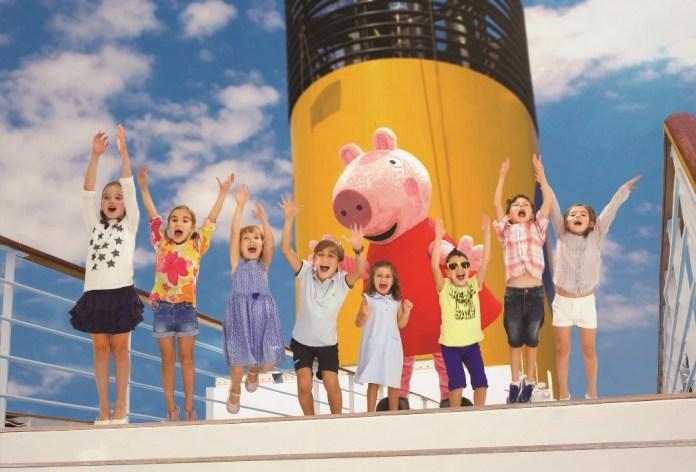 navio As crianças a bordo do Costa Diadema têm a oportunidade de brincar e interagir com a famosa personagem de desenho animado Peppa Pig