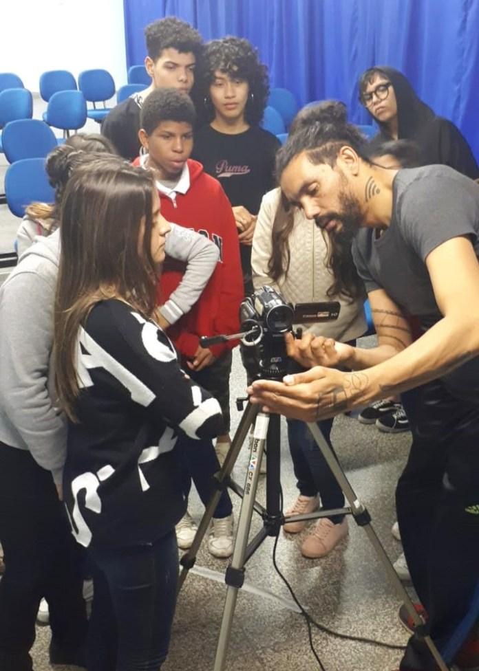 Primeiro dia de curso e o primeiro contato dos alunos com a câmera
