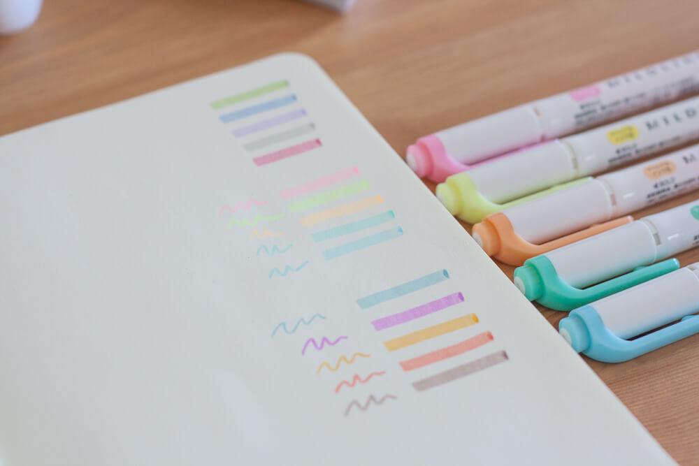 Bullet Journal - Avis sur les Mildliners Zebra - Set rose couleur pastel Swatches