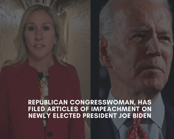 A Republican Congresswoman, Has Filed Articles of Impeachment on Newly Elected President Joe Biden - WATCH VIDEO