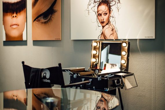 Reflections at make-up artist booth