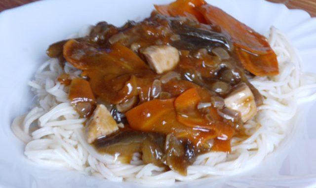kínai padlizsános-répás csirke