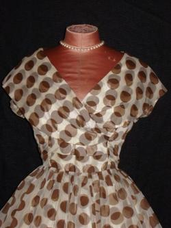 brown dot dress