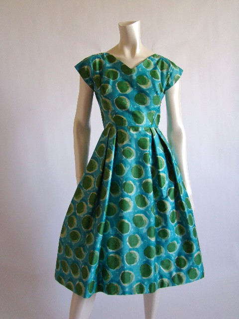 green silk dot dress