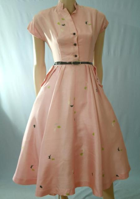 pink and green vintage shantung