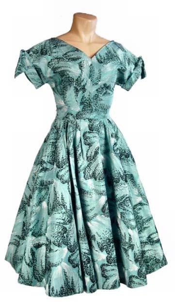 turquoise flocked dress