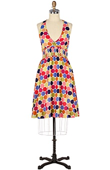 Anthropologie dot halter dress