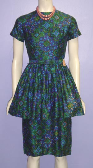 drabble blue-green peplum