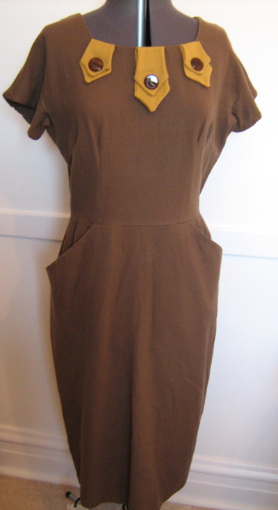 brown and gold wool dress