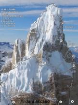 Cerro Torre southwest face, il tracciato (1) è la Via dei Ragni (© http://pataclimb.com)
