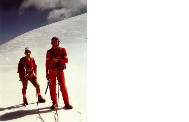Io e mio padre Ascanio (Ian) sul ghiacciaio della Marmolada