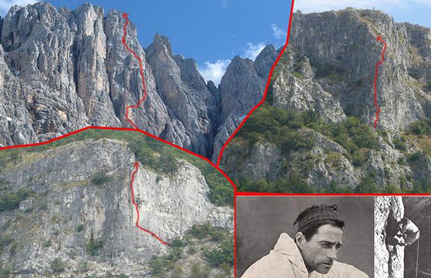 Via Comici-Fabjan alla Sorella di Mezzo, 1929 (in alto a sx); La Bianca, 1927 (in basso a sx); La Grande, 1928 (in alto a dx)