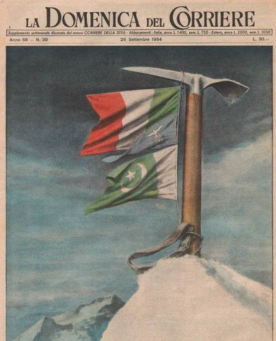 """Copertina (di Walter Molino) de """"La Domenica del Corriere"""" che celebra la conquista italiana del K2."""