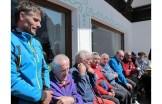 Marco Anghileri sulla terrazza del rifugio Tissi nel 50° del rifugio (29/30 giugno 2013) con gli alpinisti che hanno fatto la storia del Civetta (ph G. Fontanive)