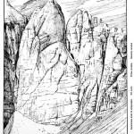 Disegno di Domenico Rudatis, il Pan di Zucchero, dalla Rivista del CAI (1929)