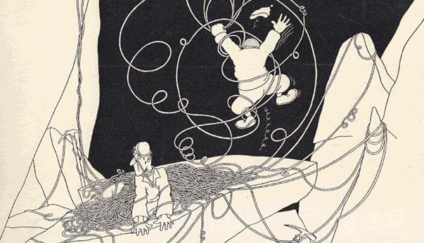 Dessin de Samivel, Sous l'œil des choucas ou les plaisirs de l'alpinisme, Librairie Delagrave, 1932, page 19
