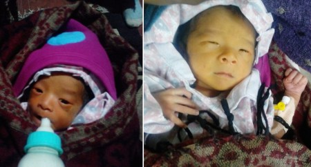 Dawa Norbu, baby e il giorno dopo l'arrivo in ospedale (Archivio Yancen Diemberger)
