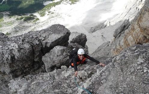 Durante la scalata della Cima Grande di Lavaredo