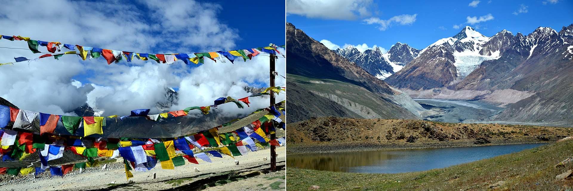 Himachal Pradesh - Khunzum La (passo, 4551m) e veduta panoramica sopra il ChandraTaal lake