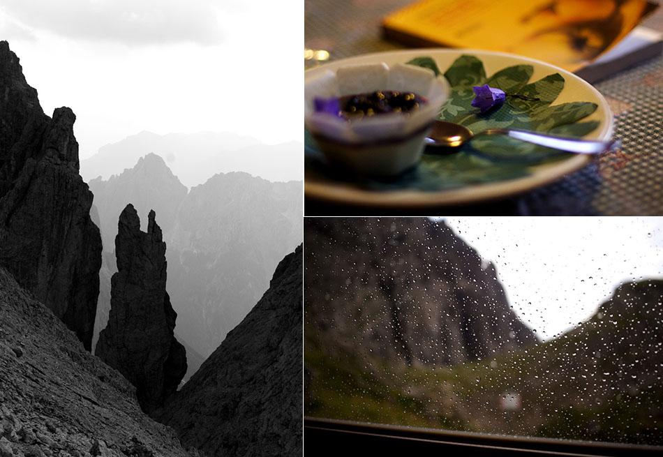 Pinnacoli, Dolci e letture, Pioggia al rifugio Velo della Madonna