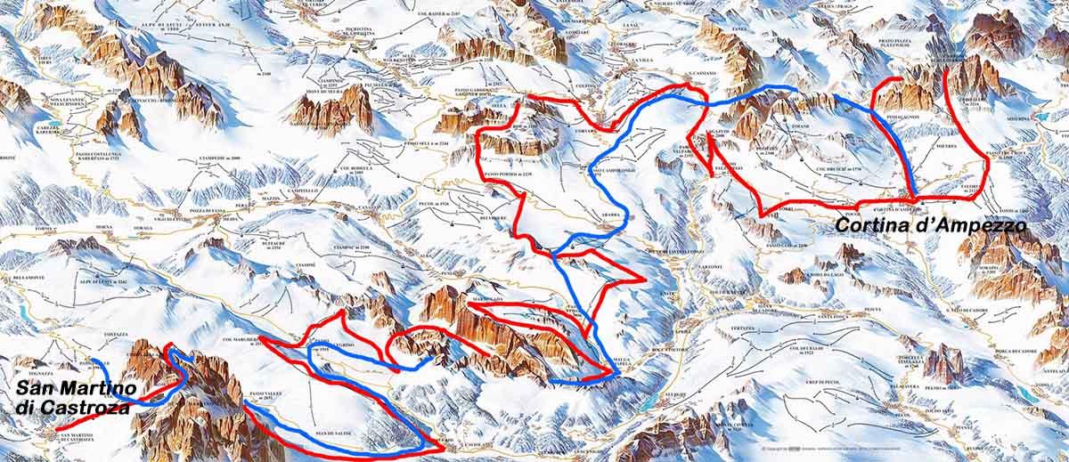 BLU: itinerario storio seguito da Alfredo Paluselli (1936), ROSSO: itinerario seguito da Eric Girardini & C. (2014) - mappa rielaborazione da www.dolomitisuperski.com