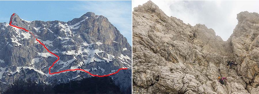 Via Capezzagna del Drugo, per parete Sud di Cima Podestine (2281 m); gruppo Caserine-Cornaget, D. dx T.