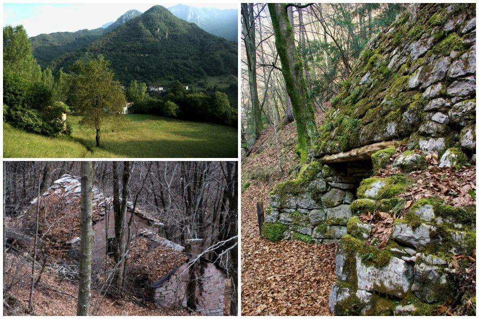 Un ambiente ancora ben curato in Val di Schievenin / Vecchia casera sopra Podenzoi (Longarone) / Vecchia calchera parzialmente recuperata in Val Tovanella (Ospitale di Cadore)